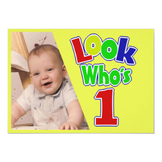 Look Who's 1/ Birthday 5x7 Paper Invitation Card