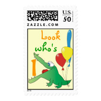Look who's 1 ! Crocodile Birthday Postage Stamps
