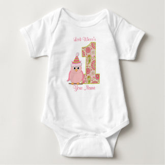 Look Who's 1 Owl Birthday Shirt