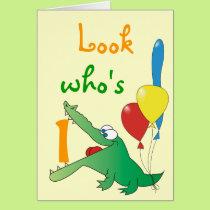 Look Who's 1 Today! Cute Crocodile Birthday Cards