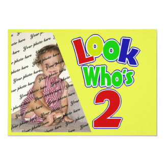 Look Who's 2/ Birthday 5x7 Paper Invitation Card