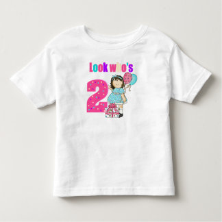 Look who's 2 girl birthday toddler t-shirt