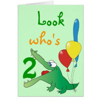 Look Who's 2 Today! Cute Crocodile Birthday Cards