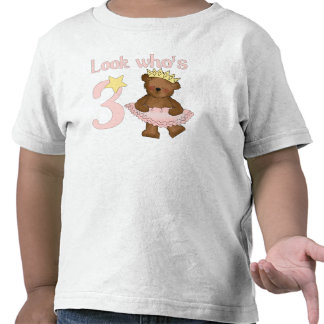 Look who's 3 girl birthday t shirt