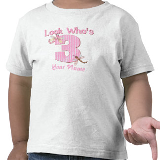 Look who's 3 pink dragonfly t-shirt