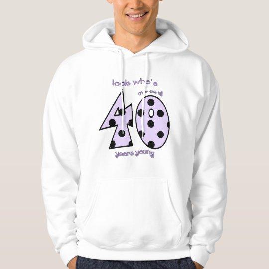look who's 40 birthday - purple polka dots hoodie