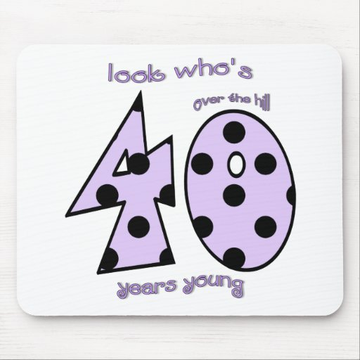 look who's 40 birthday - purple polka dots mouse pad