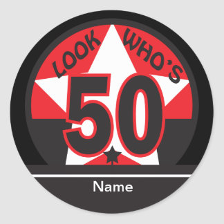 Look Who's 50 | 50th Birthday Classic Round Sticker
