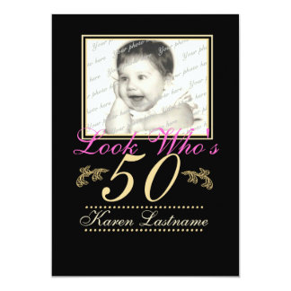 Look Who's 50 Photo 5x7 Paper Invitation Card