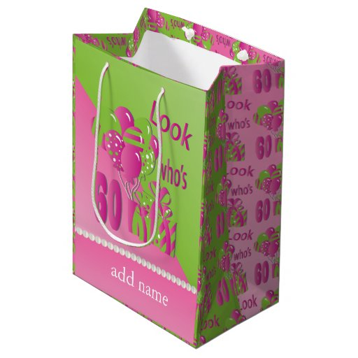 Look Who's 60 in Pink - 60th Birthday Medium Gift Bag