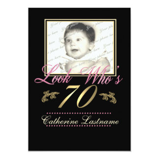 "Look Who's 70 Photo 5"" X 7"" Invitation Card"