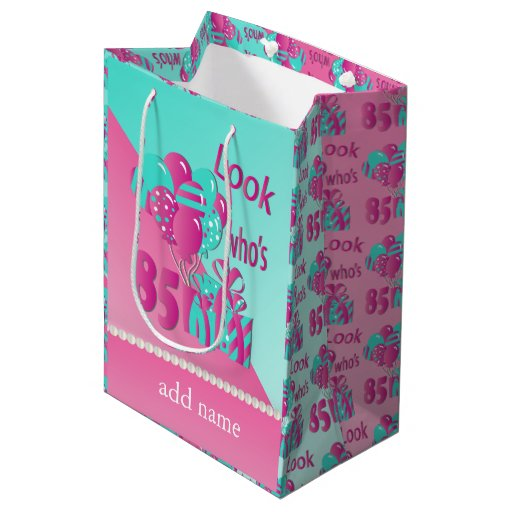 Look Who's 85 | 85th Birthday - Pink and Turquoise Medium Gift Bag