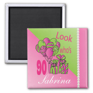 Look Who's 90   90th Birthday 2 Inch Square Magnet