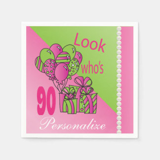 Look Who's 90 | 90th Birthday Standard Cocktail Napkin
