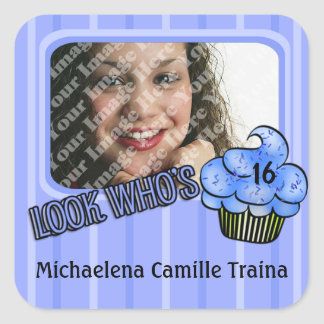 Look Whos Having A Blue Striped Birthday! Square Sticker