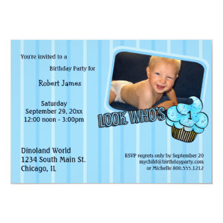 Look Whos Having A Teal Striped Birthday! Card