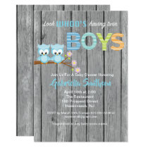 Look Who's Having Twin Boys Baby Shower Card