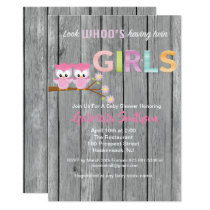 Look Who's Having Twin Girls Baby Shower Card
