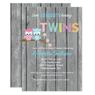 Look whos having a baby invitations zazzle look whos having twins baby shower card reheart Gallery