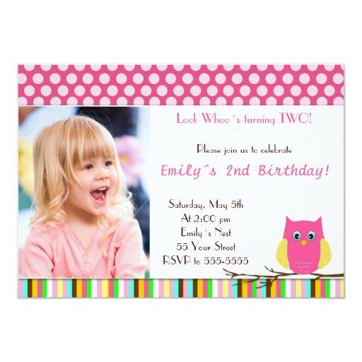 """Look Whos Owl Birthday Party Invitation Polka Dots 5"""" X 7"""" Invitation Card"""