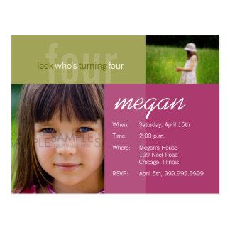 look who's turning four • Birthday Invitation Postcard