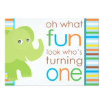 Look Who's Turning One - Elephant 5x7 Paper Invitation Card