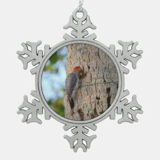 lookin dirigido rojo del pájaro de la pulsación de adorno de peltre en forma de copo de nieve