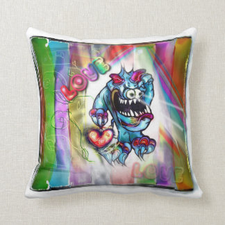 Lookin`for Love Troll with Heart Rainbow Pillow