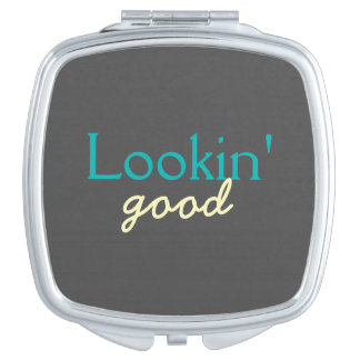 Lookin' Good - Flattering to Every Face - Teal Compact Mirror