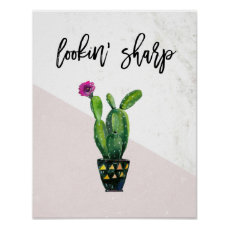 Lookin' Sharp | Blush Pink Marble and Cactus Poster