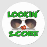 Lookin to Score with Sunglasses Round Sticker