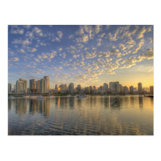 Looking across False Creek at the skyline of Postcard