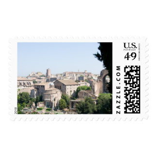 Looking at a section of the Rome Forum from the Postage Stamp