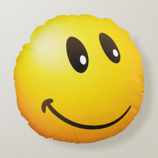 looking at you emoji round pillow