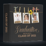 """Looking Back Graduation Photo Memory Book Album 3 Ring Binder<br><div class=""""desc"""">Enjoy a look back of selfies and photos with friends in this rustic, elegant senior graduation memory keepsake. On a black background, three template photos hung by clothespins entangled with a sunflower and red and green ribbon. Year dates can be put on label on frame. A single template photo in...</div>"""