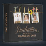 "Looking Back Graduation Photo Memory Book Album 3 Ring Binder<br><div class=""desc"">Enjoy a look back of selfies and photos with friends in this rustic, elegant senior graduation memory keepsake. On a black background, three template photos hung by clothespins entangled with a sunflower and red and green ribbon. Year dates can be put on label on frame. A single template photo in...</div>"