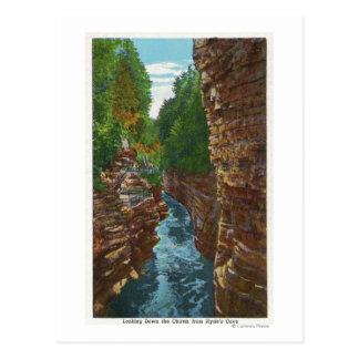 Looking Down Ausable Chasm from Hyde's Cave Postcard