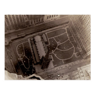 Looking Down on Trinity Church and Cemetery Postcard