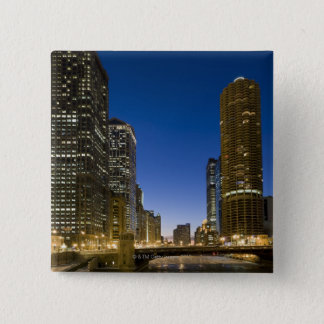 Looking down the frozen Chicago River at dusk. Pinback Button
