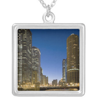Looking down the frozen Chicago River at dusk. Silver Plated Necklace