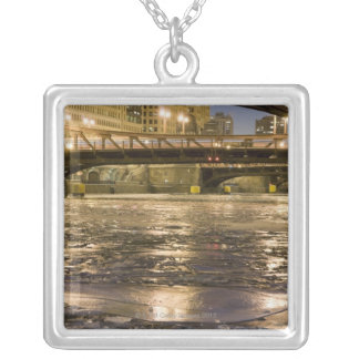 Looking down the frozen Chicago River in Silver Plated Necklace