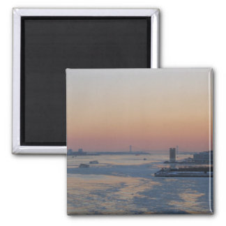 Looking Down The Hudson River At Sunset 2 Inch Square Magnet