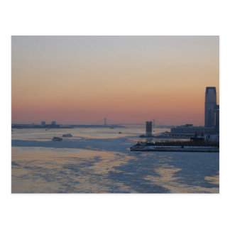 Looking Down The Hudson River At Sunset Postcard