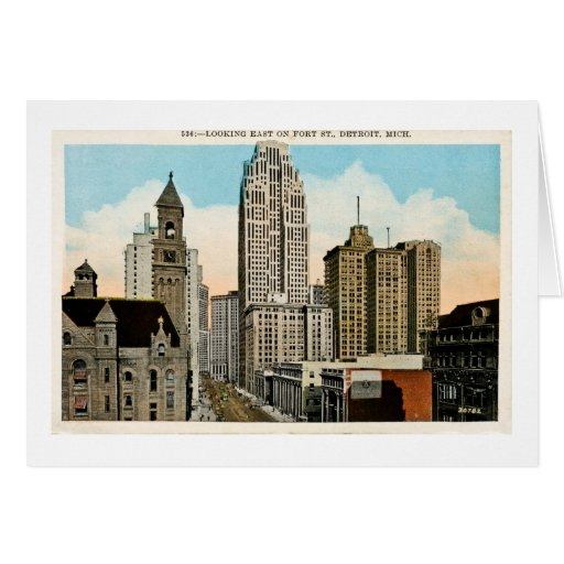Looking East on Fort Street Detroit, Michigan Greeting Card