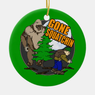 Looking for Bigfoot Double-Sided Ceramic Round Christmas Ornament