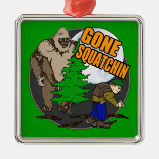 Looking for Bigfoot Square Metal Christmas Ornament