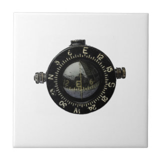Looking for Direction Military Compass Drawing Ceramic Tile