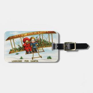 Looking for Santa vintage illustration Bag Tag