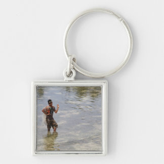 Looking for shellfish Silver-Colored square keychain