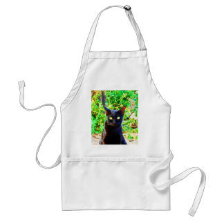 Looking for you stray cat animal wild black adult apron